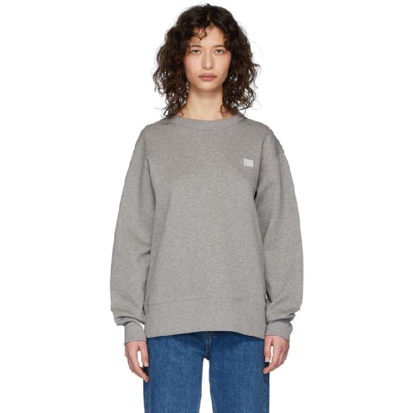 Acne Studios Oversized Logo-appliquÉd MÉlange Loopback Cotton-jersey Sweatshirt In Grey