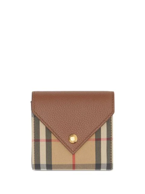 Burberry Vintage Check Leather Folding Wallet In Brown