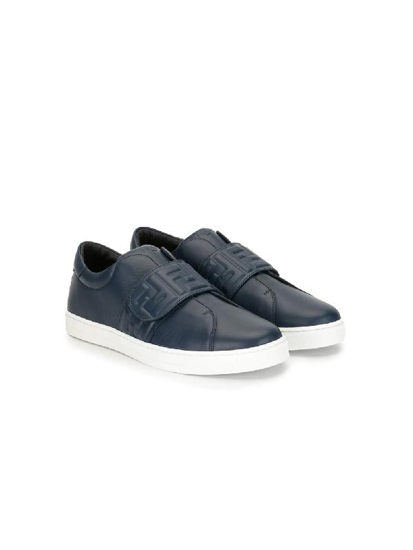 Fendi Kids Ff Velcro Sneakers In Blue
