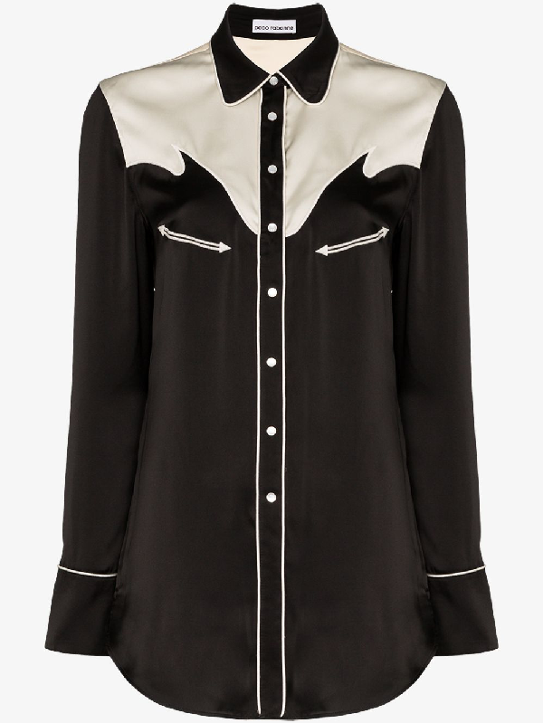 Paco Rabanne Two-tone Western-inspired Shirt In Black