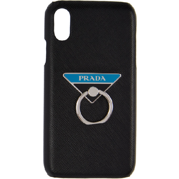 Prada Logo Ring Saffiano Leather Iphone X Case In Black