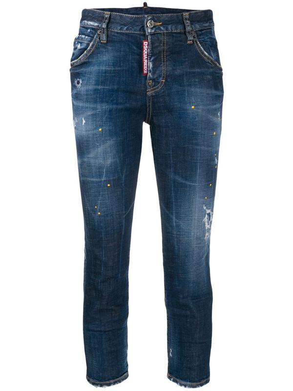 Dsquared2 Jeans Jennifer Cropped Blu In Blue