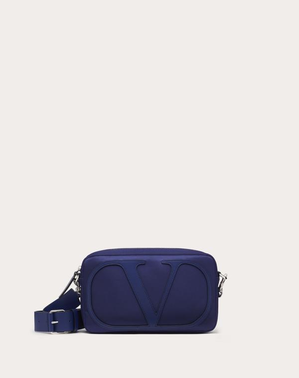 Valentino Garavani Uomo Vlogo Nylon Crossbody Bag In Marine