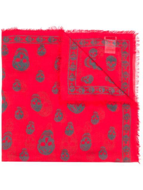 Alexander Mcqueen Skull Print Silk Biker Scarf In Red