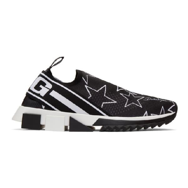 Dolce & Gabbana Dolce And Gabbana Black Millennial Star Sorrento Slip-on Sneakers In Hn35cstelle