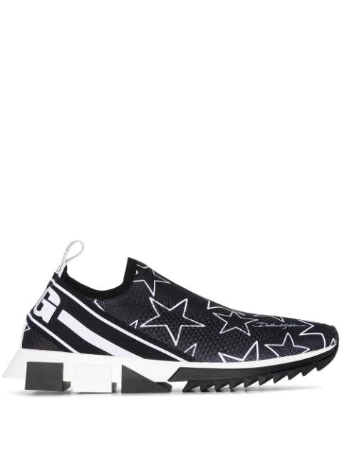 Dolce & Gabbana Dolce And Gabbana Black Millennial Star Sorrento Slip-on Sneakers