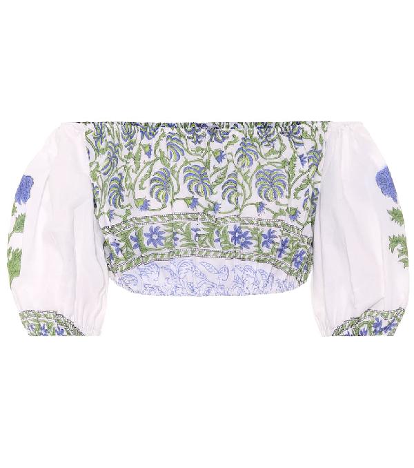Juliet Dunn Off-the-shoulder Cotton Crop Top In White