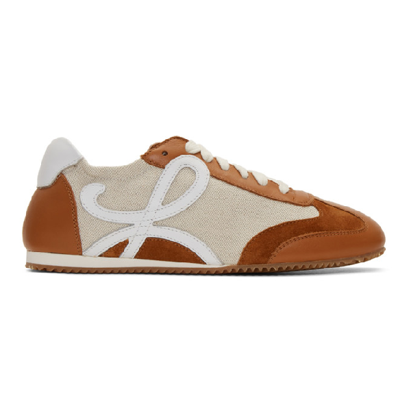 Loewe Ballet Runner Nylon And Leather Sneakers In Sand/caramel