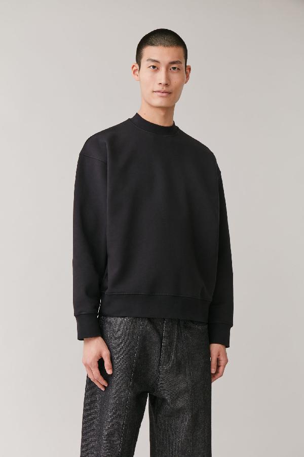 Cos Relaxed Jersey Sweatshirt In Black