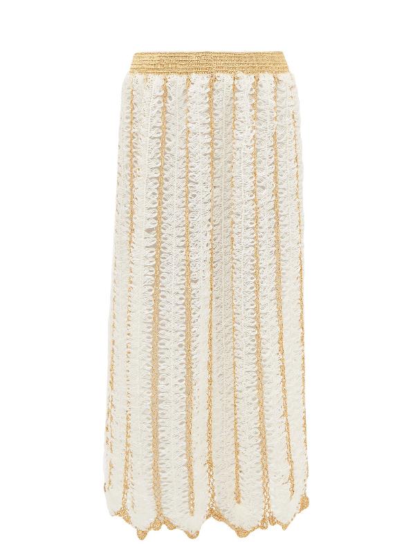 My Beachy Side Firtek Scalloped-hem Crochet Midi Skirt In Cream