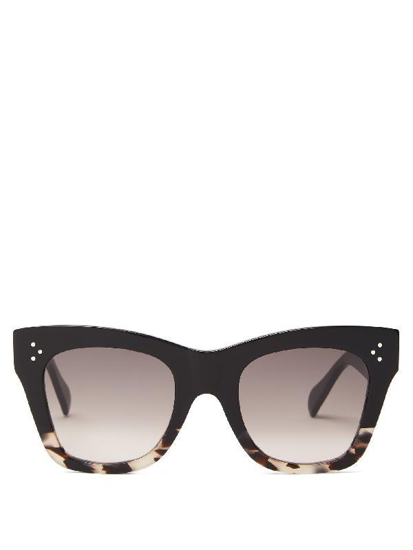 Celine Gradient Square Acetate Sunglasses In Black Multi