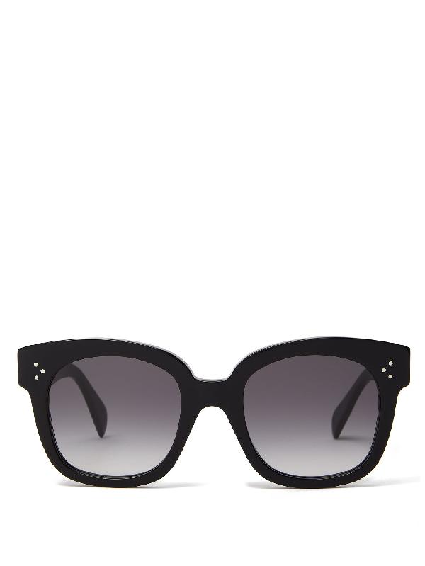 Celine Gradient Lenses Square Acetate Sunglasses In Black
