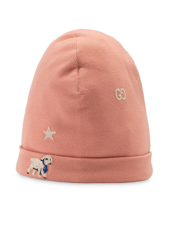 Gucci Embroidered Baby Hat In Pink