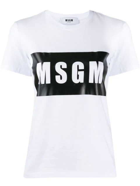 Msgm Logo Print Crewneck T-shirt In White