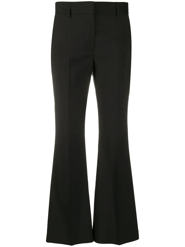 Msgm Flared Hem Cropped Trousers In Black