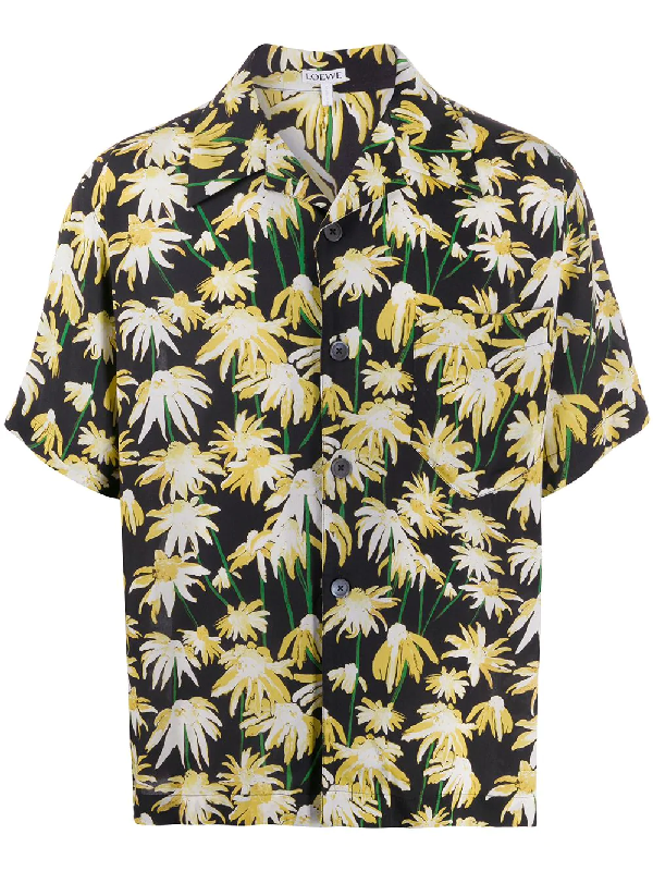 Loewe Camp-collar Floral-print Matte-satin Shirt In Black