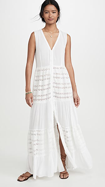 Playa Lucila Eyelet Maxi Dress In White