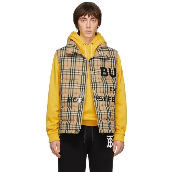 Burberry Vintage Check Recycled Polyester Puffer Gilet In Archive Bei