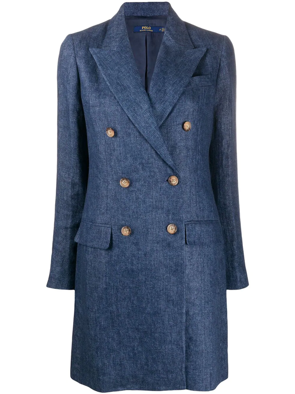 Polo Ralph Lauren Double Breasted Coat In Blue