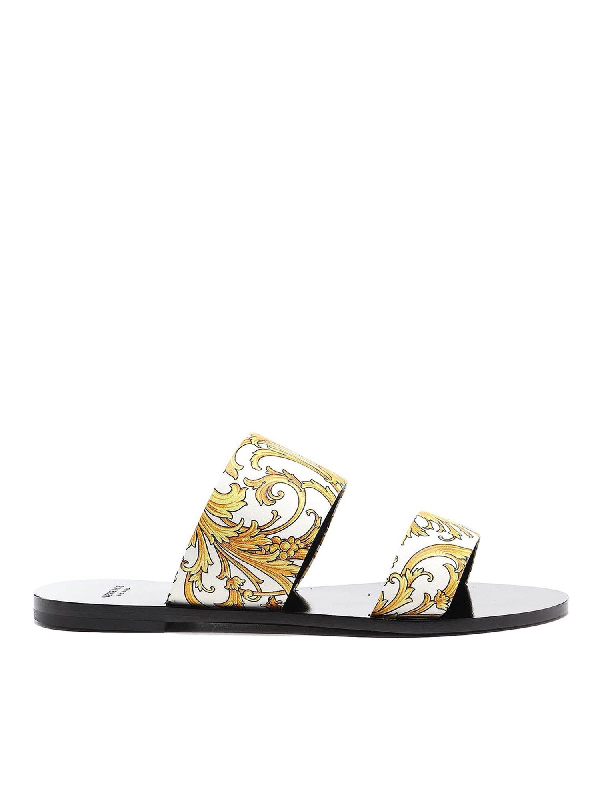 Versace Western Baroque Patterned Flat Sandals In White
