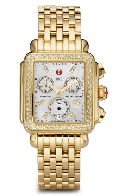Michele Deco Diamond Chronograph Watch Head & Bracelet, 33mm In Gold/ Mop