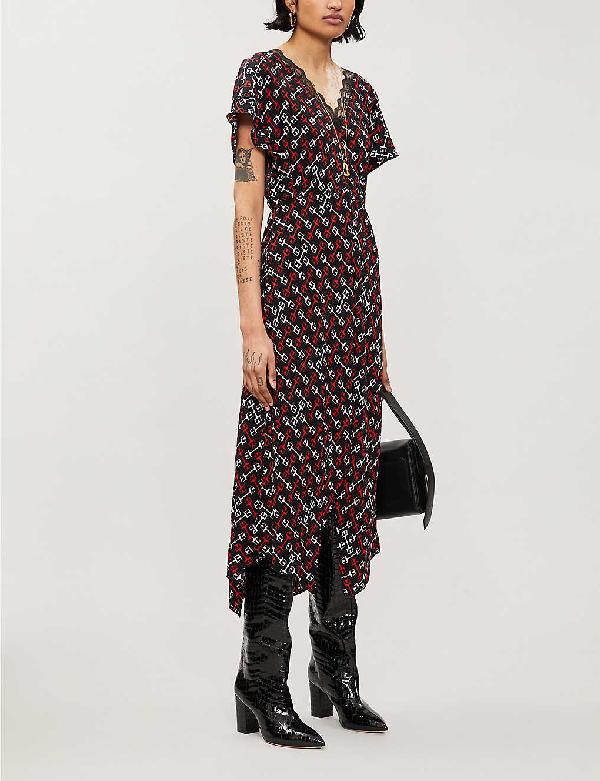Maje Rorsie Geometric-print Woven Midi Dress In Black/red