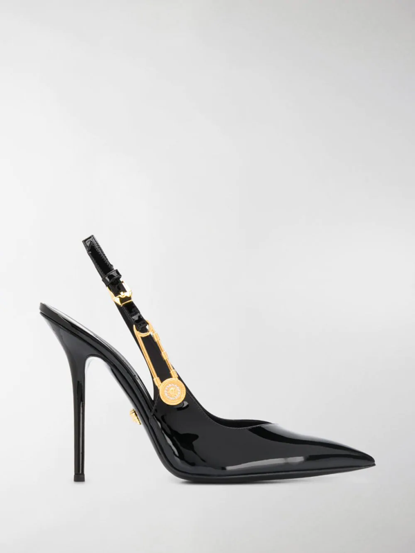 Versace 110mm Patent Leather Sling Back Pumps In Black