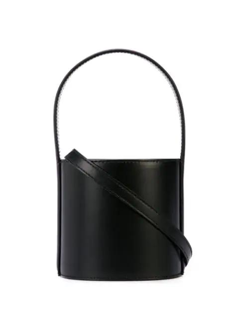 Staud Mini Bissett Leather Bucket Bag In Black