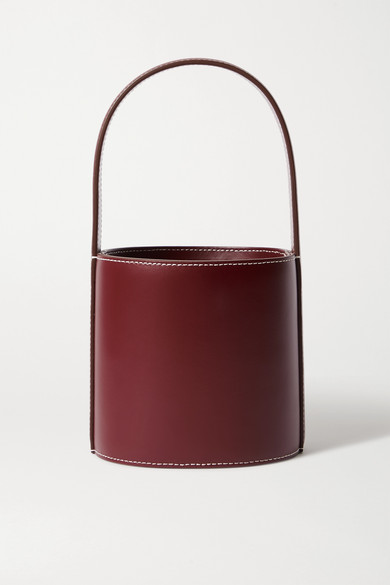 Staud Bissett Mini Leather Bucket Bag In Burgundy