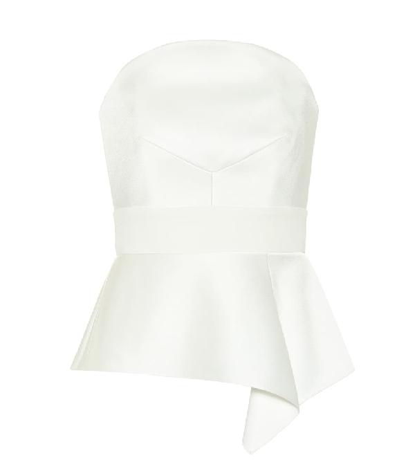 Roland Mouret Penn Asymmetric Satin Bustier Top In White