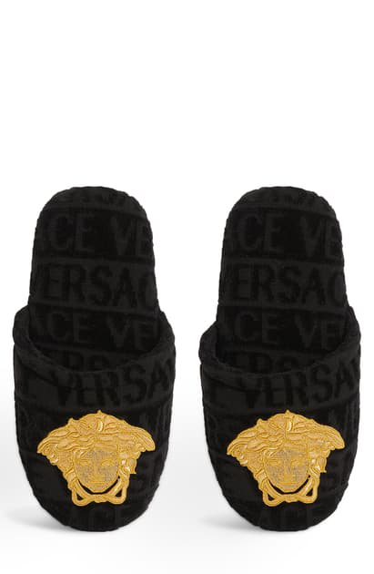 Versace Logomania Slipper In Black/ Gold