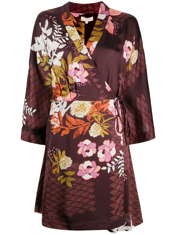 Bytimo Burgundy Floral-print Wrap Dress In Red