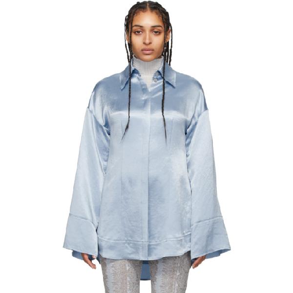Acne Studios Oversized Satin Shirt Powder Blue