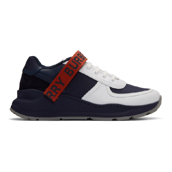 Burberry Logo Detail Leather And Suede Sneakers In Navy
