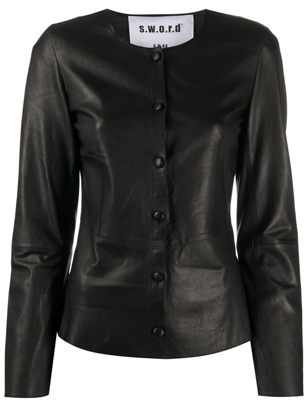 Sword 6.6.44 Collarless Leather Jacket In Black
