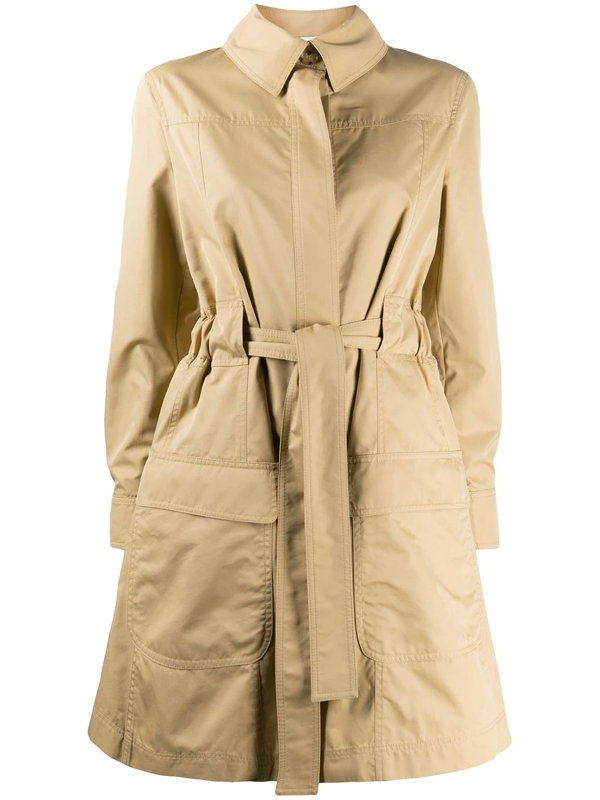 Moschino Crystal-embellished Teddy Trench Coat In Neutrals