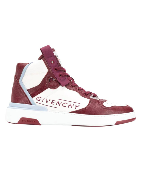 Givenchy High Top Wing Sneakers In Burgundy