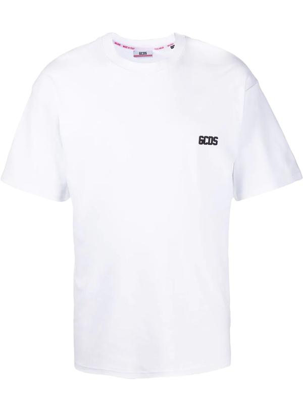 Gcds Logo Detail Cotton T-shirt In White