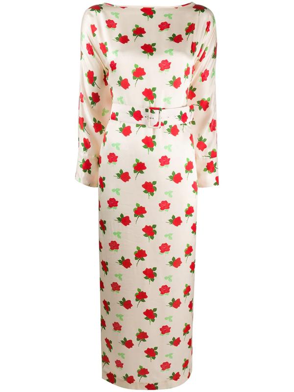 Bernadette Floral Print Dress In Pink