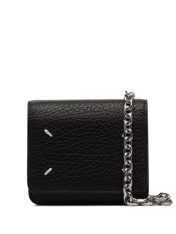 Maison Margiela Four-stitch Chain-strap Wallet In Black