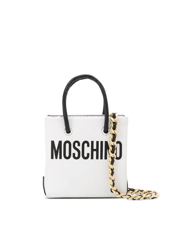 Moschino Logo-print Mini Leather Shopper Bag In White