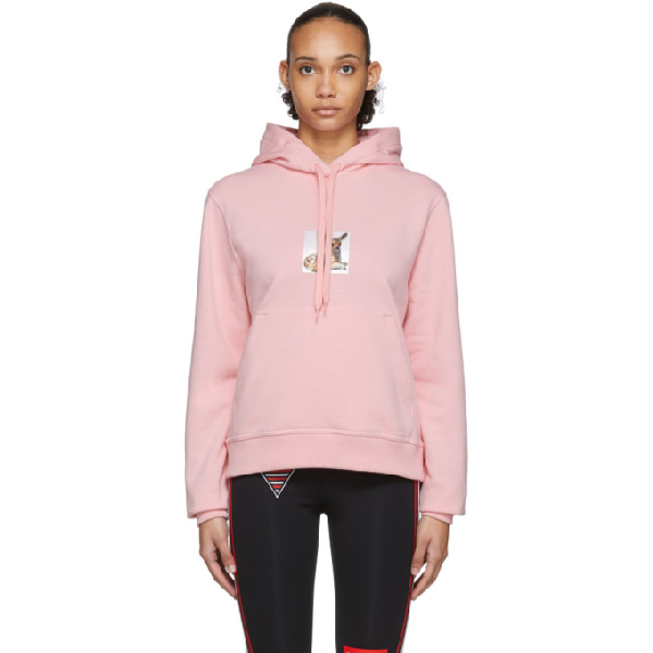 Burberry Deer Print Oversize Cotton Hoodie In Candy Pink