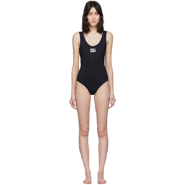 Dolce & Gabbana Embroidered Jersey One Piece Swimsuit In Black