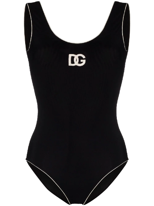 Dolce & Gabbana Dolce And Gabbana Black Contrast One-piece Swimsuit In N0004 Black