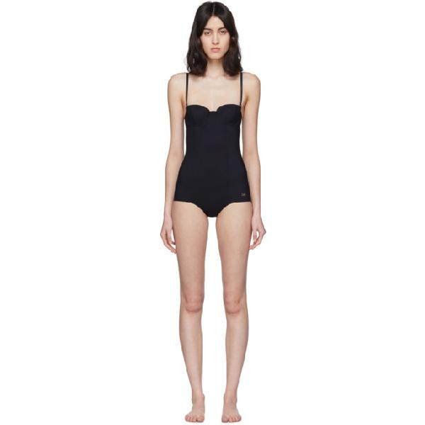 Dolce & Gabbana Dolce And Gabbana Black Logo One-piece Swimsuit In N0000 Black