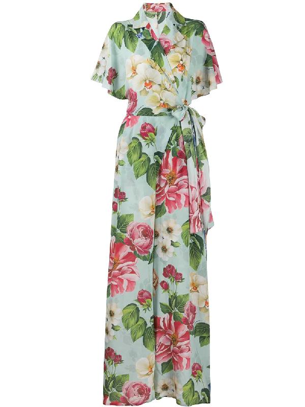 Dolce & Gabbana Crepe De Chine Floral-print Belted Jumpsuit In Blue