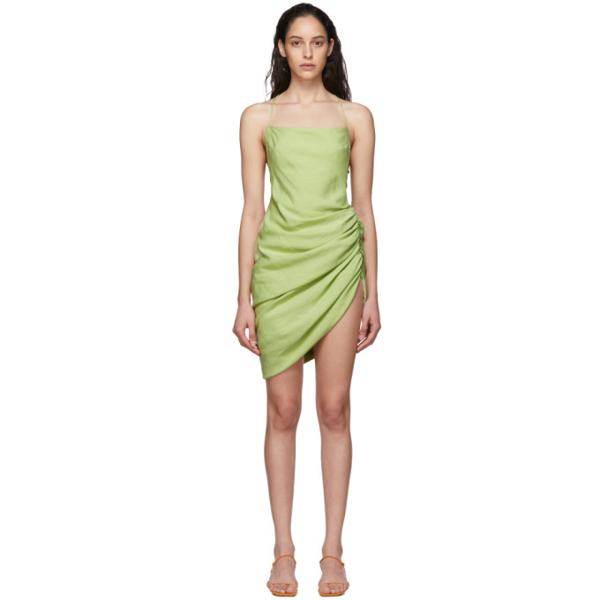 Jacquemus La Robe Saudade Gathered Canvas Mini Dress In Light Green