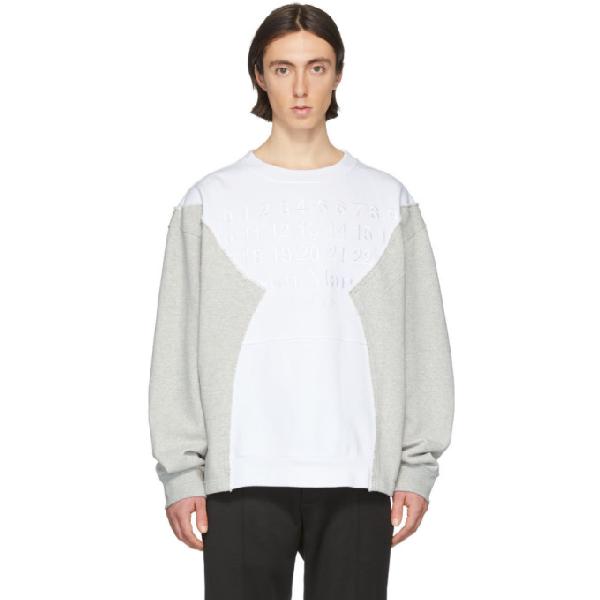 Maison Margiela Oversized Logo-embroidered Patchwork Loopback Cotton-jersey Sweatshirt In 100 White
