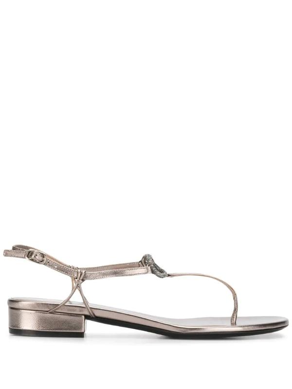 Valentino Garavani Vlogo Glow Metallic Leather Sandals In Grey