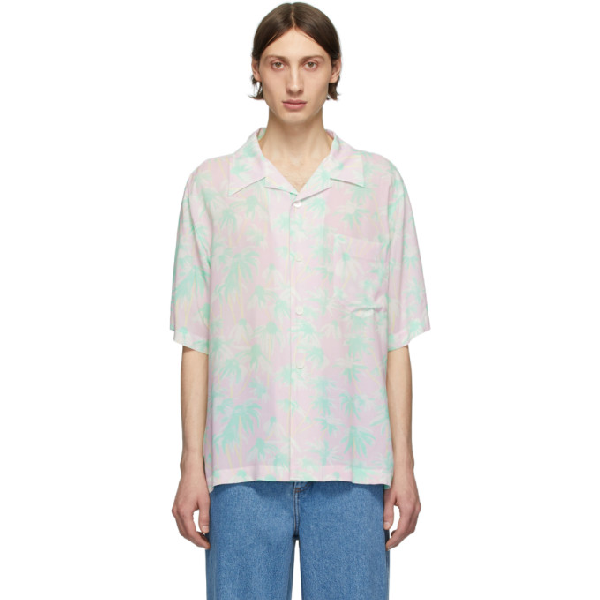 Loewe Pastel Daisy Print Bowling Shirt In 7238 Pink/l